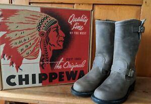 Chippewa Tall Boots GREY SIZE 7 Leather Raynard Harness Moto Engineer WOMENS NIB