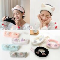 Sequin Cat Ears Plush Headband Soft Elastic Makeup Wash Face Hair Band Headwrap