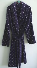 LADIES M&S NAVY BLUE 'STARRY'  LONG SLEEVED SUPERSOFT TIE ROBE SIZE:- (12/14)