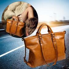 Fashion Lady Shoulder Bag Tote Purse Oiled Leather Women Messenge Light Brown GA
