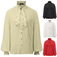 Retro Mens Tops Steampunk Renaissance Victorian Shirt Long Sleeves Jabot Blouse