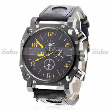 V6 U boat Army Military style Quartz Mens Stylish Black Wrist Sport Watch PU
