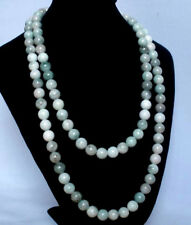 54inch Bluish White Chinese Tibet Jade Gemstone Beads Long Necklace party gift