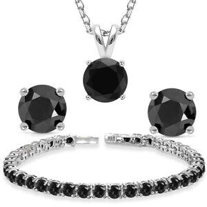 "New 14K White Gold Sterling Silver 925 Black Spinel Tennis Bracelet 7.5"""