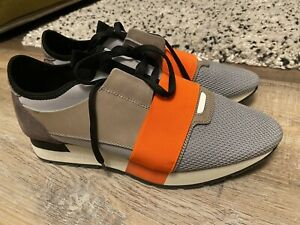 Balenciaga Neoprene/Leather Race Runner Size 42 - Sneakers Grey/Beige/Orange