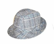 Harvard Custom Tailored Vintage Wool Blend Gray Tweed Fedora Hat Size M 7-7 1/8