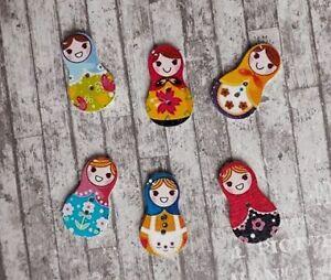 20 Russian Doll Buttons Matryoshka Babushka Wooden Sewing Crafts Embellishments