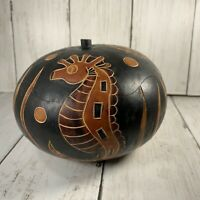 Hand & Etched Gourd Cut Lid Seahorse Underwater Design Trinket Box or Bowl