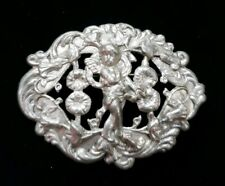 Victorian Antique Cherub Floral Pin Brooch Finely Detailed