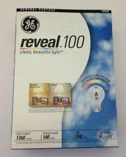 NEW 4- GE 100 Watt Reveal White A19 Light Bulbs 48690