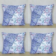 New Indian Hand Block Cotton Cushion Cover 16x16 Blue Pink Pillow Case 4 Pcs Set