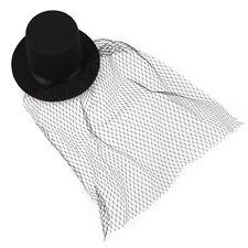 Black Mini Top Hat Veil Clips Party Lolita Cosplay Fancy Dress T1