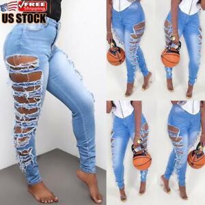 Women Skinny Ripped Jeans Jeggings Ladies Stretchy Slim Fit Denim Pants Trousers
