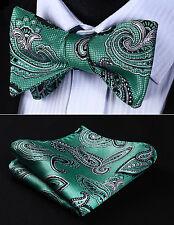 BP818GS Green Gray Paisley Bowtie Men Silk Self Bow Tie handkerchief set