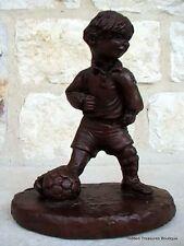 Red Mill Mfg Soccer Boy Biersdorfer Handcrafted Crushed Pecan Resin Figurine
