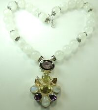 Statement Moonstone Necklace with Amethyst & Citrine  Sterling Silver Wedding