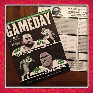 PHILADELPHIA EAGLES Gameday + Media Card 9.23.18 Vs Indianapolis Colts Free Ship