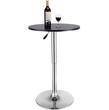 Home Pub Bar Table Swivel Round Height Adjustable Black MDF Chromed Anodized New