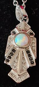 sterling silver art deco pendant with chain