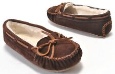 Minnetonka KAYLA Chocolate Brown Suede Moccasin Slippers Faux Fur Lining - 10 M