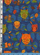 Fabric Kaufman ANIMAL PARTY TOO! OWLS SQUIRRELS blue BTHY