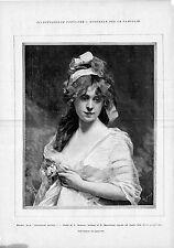 Stampa antica GIOVANE DONNA CON FIORE e NASTRO fra i capelli 1893 Old print