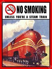 No Smoking,Treno A Vapore,Divertente,Cafe,Pub,Hotel,Bar,36 Misura Media Metallo/
