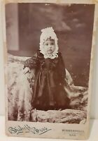 Vintage Old Cabinet Photo Girl in Bonnet Minneapolis KANSAS Bishoff World Map