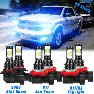 For Dodge RAM 1500 2019 2020 LED Headlight + Fog Light Lamp 6 Bulbs Combo 8000K