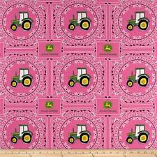 JOHN DEERE FABRIC PINK  tractor FABRIC bandana John Deere logos BTY NEW