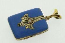 Antique Victorian 14K Gold Turquoise Blue Enamel Locket Pendant Rectangular Rare