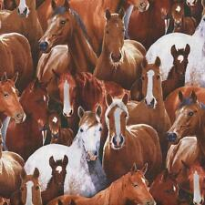 FARM ANIMALS REALISTIC HORSES Cotton Fabric BTY for Quilting, Craft Etc