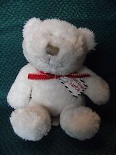 "MAMAS AND PAPAS WHITE  TEDDY BEAR SOFT TOY LOVE FROM SATA COMFORTER 8"" APPROX"