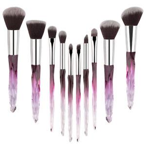 10Pcs Kabuki Makeup Brushes Tools Big Powder Foundation Crystal Glitter Brush UK