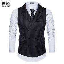 New Fashion Mens Vests Waistcoats Striped Slim Fit Double Breasted FKV3037