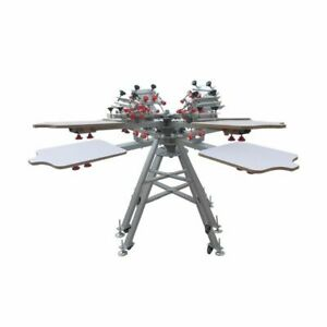 4 Color 4 Station Silk Screen Printing Press Machine with Micro Registration