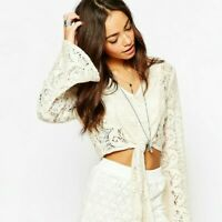 Band of Gypsies Women's Cream Lace Hippy Boho Crop Top UK 12 US 8 EU 40