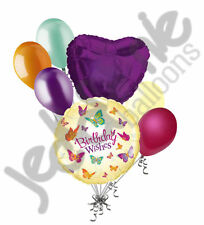 7 pc Fluttering Butterfly Happy Birthday Wishes Balloon Bouquet Party Decoration