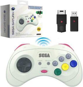 Retro-Bit 2.4 GHz Wireless Controller 8-Button Sega Saturn, Genesis Mini - White
