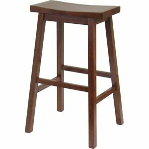 Winsome 94084 Wood Satori Saddle Seat Counter Stool 24 in. - Walnut