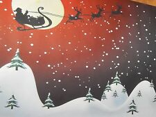 RED Christmas SANTA'S Sleigh Flying BACKDROP Village Display platform Dept 56