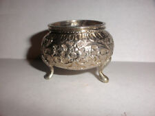 Vintage open salt cellar Persian silver decorated flowers repousse Middle East