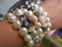 natural white pearl, abalone, combination/ cuff bracelet/5 rows/no metal/8 ins