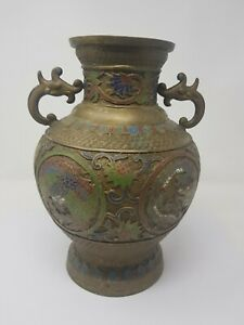 Vintage Old Brass Mina Work Colourfull Pot/Vase Collectible Decorative NH5466