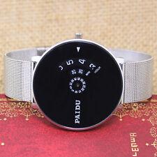 New Turntable Dial Unique Design Silver Mesh Quartz Wrist Watch for Women Mens