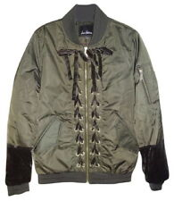 $200 Sam Edelman Bomber Velvet Trim Jacket XSmall 0 2 Olive Green Lots o Details