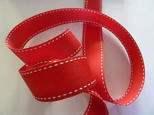 Red Grosgrain Ribbon With White Stitch 25mm Wide X 5 Metres Length - Christmas