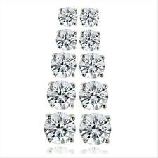 5.9ct CZ Round Stud Earrings, Set of 5 in Brass