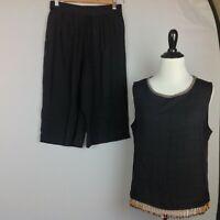Vintage Heavenly Capri Pants Top Set Womens Medium Boho Lagenlook Black