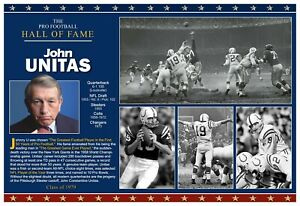 "ALL-TIME NFL GREAT JOHN UNITAS 19""x13"" COMMEMORATIVE POSTER"